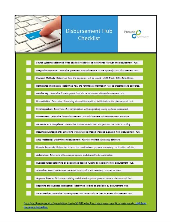 Disbursement Hub Checklist